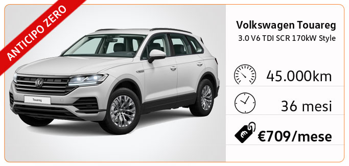 VOLKSWAGEN TOUAREG 3.0 V6 TDI STYLE TUA A €709 AL MESE