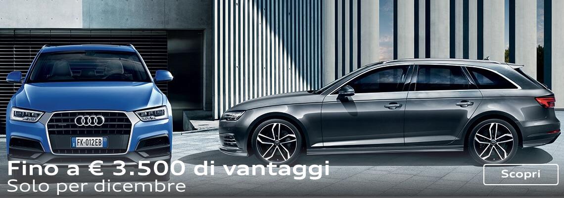 Fino a € 3.500 di vantaggi su gamma Audi. Solo per dicembre