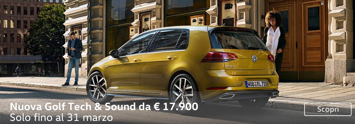 Nuova Golf Tech & Sound da 17.900 €. Solo a marzo.