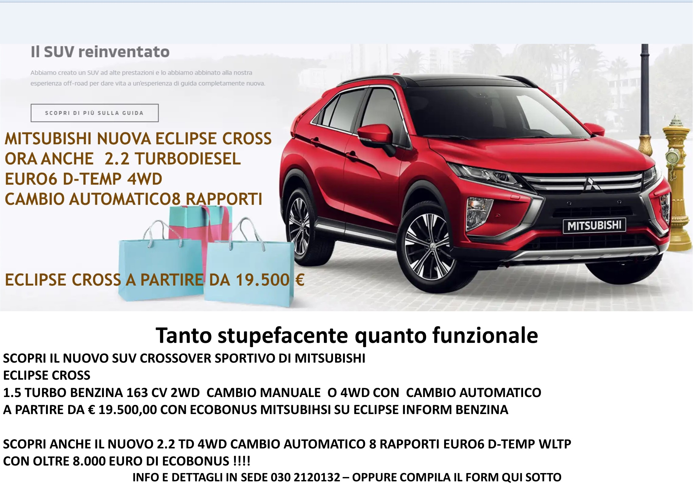 NUOVA ECLIPSE CROSS SUV COUPE' , ANCHE DIESEL 4WD AT