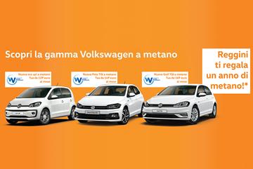 Acquista una Volkswagen a metano. Reggini ti regala un anno di rifornimento.