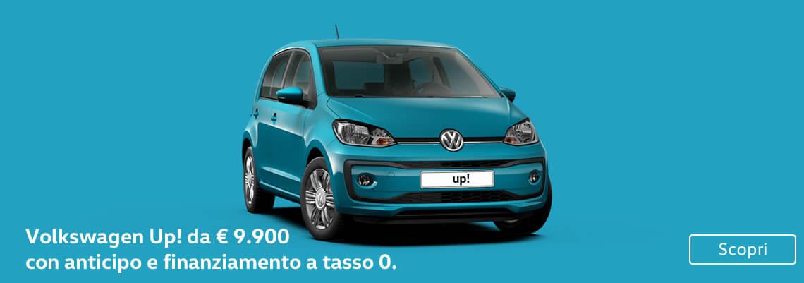 Volkswagen Up! da € 9.900. Con anticipo e finanziamento a tasso 0.